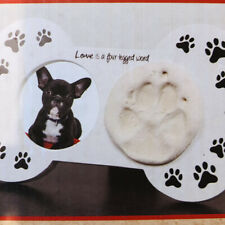 New Paw Print Keepsake Picture Frame Kit Bone Shaped Pet Memorial Dei Pet Puppy