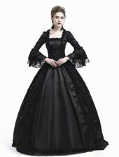 Gothic victorian dress ball gown floral black goth lace S