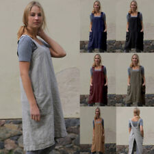 Women Long Kitchen Apron Casual Solid Dress Loose Pinafore Classic Pockets Apron