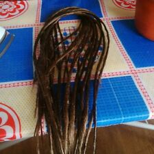 30 brown thin synthetic dreads, dreadlock extensions double ended, medium length