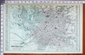 1883 LARGE MAP PLAN MANCHESTER STATIONS WORKHOUSE CAVALRY BARRACKS GOODS YARD