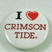 1970-80s Vintage Pin Back Button I Heart Crimson Tide Love Alabama