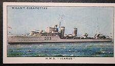 HMS Icarus   Royal Navy  I Class  Destroyer  Original 1930's Vintage Card # VGC