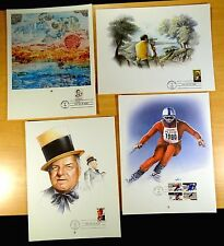 4 First Day Cover Prints 1980 W.C. FIELDS OLYMPICS BENJAMIN BANNEKER E. BISSELL