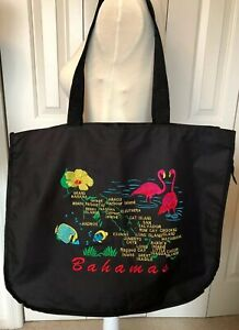 Bahamas Large Zip Tote Beach Bag Purse Black Pink Green Red embroidery Nautical