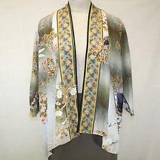 NEW Citron Clothing Plus Size Floral 100% Silk Fukure Cardigan Blouse 1X