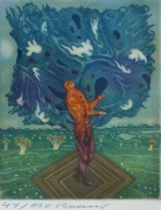 """Erich ARIK BRAUER """"Dangerous Cloud"""" (New God) Etching Hand signed Austrian 1972"""