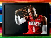 ✺Framed✺ RUSSELL WESTBROOK Houston Rockets NBA Poster - 62cm x 44.5cm x 3cm