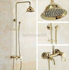Gold Polished Brass Bathroom Rain Shower Faucet Set Tub Mixer tap Fgf406