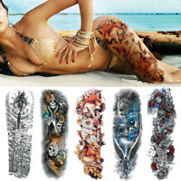 Cool Full Arm Sleeve Temporary Disposable Tattoos Fake Skull Art Stickers