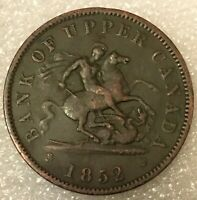 1852 Bank ofUpper Canada One Penny TokenCanadian Colonial, Heaton mint