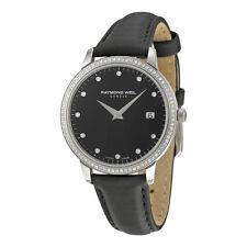 Raymond Weil Toccata Black Dial Diamond Black Leather Ladies Watch