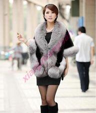 New Elegant Women Faux Fur Cape Batwing Coat Outwear Overcoat Warm Short Sleeve