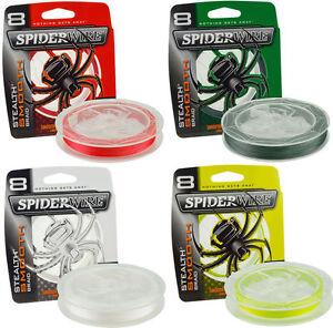 Spiderwire Stealth Smooth geflochtene Angelschnur 100m-1800m Stärken & Farben