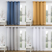 BALI Textured Pom Pom Voile Net Curtain Ready Made Eyelet/Ring Top Single Panel