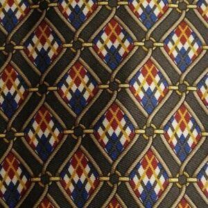 Brown Argyle Foulard Silk Tie