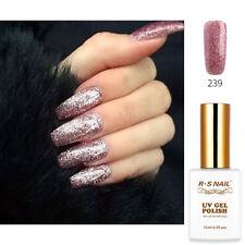 2018 RS Nail Gel Nail Polish UV LED Soak Off 0.5oz Rose Glitter Colour 239 Shiny