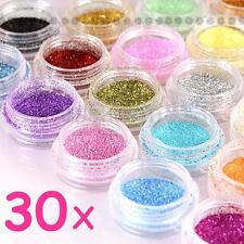 30 Glitter Colors Nail Art Fine Glitter Powder Dust Acrylic UV Gel Tips Set DIY