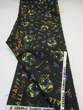 Vintage General Fabrics Cotton Fabric Halloween Witches Black Quilt Craft 1YD