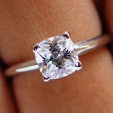 Cushion Cut Solitaire 1.85ct Diamond 14k White Gold Wedding Ring