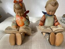 "Hummel Goebel Germany 14A &14B Reading Boy and Girl Bookends 5.75""H Original Box"