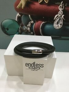 """NWT  Endless jewelry Green Double Wrap Leather Charm Silver Bracelet 8""""  NEW"""