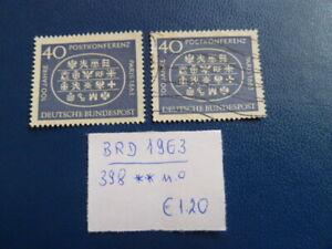 BRD 1963, 100. Jahrestag Postkonferenz, Michel 398, ** und o
