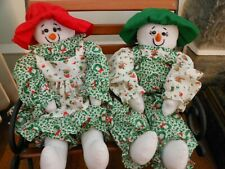 Snowman and Snowwoman homesewn cloth dolls, country dressed