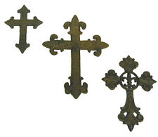 3pc Cast Iron Crosses wall hanging collection decor Gothic medieval Crosset1