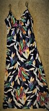 DRESS Semi-sheer Coverup Maxi Colorful Feathers Print on Navy Blue by Miken B