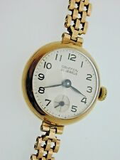 1ae3a02766a Ladies Vintage 9 Carat Yellow Gold Griffon 21 Jewels Wind Up Wrist Watch  1966