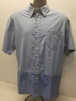 Men's Tommy Hilfiger Short Sleeve  Button Down Shirt Size Large Blue Checks