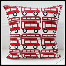 Retro childrens cushion cover London  bus red bus vintage boy bedroom nursery