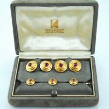 VAN CLEEF & ARPELS CUFFLINKS AND BUTTONS SET 18K GOLD AND RUBY WITH BOX