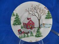 "Vintage Decoupage Holiday Winter Fabric Backing on Clear Glass 8"" Plate EUC"
