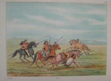 GEORGE CATLIN - 1926 - PLATE 104 - WAR RIDING - GENUINE & AUTHENTIC