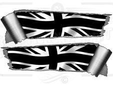 Par 290 mm Rollo lágrima Ripped Torn efecto del metal negro de Union Jack Bandera Auto Adhesivo