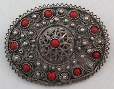 Beautiful Jerusalem Israel Sterling Silver & Carnelian Brooch Pin or Pendant