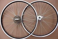 "26"" Alloy Black Mountain Bike Wheels MTB Shimano 6 / 7 Speed freewheel >>BLACK<<"