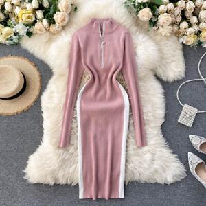 Casual Midi Bodycon Dress For Women Long Sleeve Zipper Stand Collar Autumn Wears