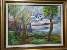 """Original Acrylic painting """" Boats on Dock"""" framed and signed by artist  29 X 23"""