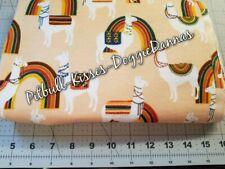 New listing Llamas & Rainbows Peach Flannel Dog Cat Bandana Over Collar Xs-L *New Fabric!*