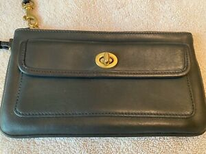 Genuine Coach Black Leather Wristlet Clutch Purse