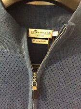 Peter Millar Blue Dot  Merino Wool & Silk Quarter Zip Sweater NWT Small $165