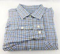 Carhartt Work Shirt Men's Size XL Blue Plaid Check 2 Chest Pockets