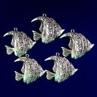 8Pcs Weight 72g Carved Tibetan Silver Fish Pendant Bead 40x35x4mm S-89PJ