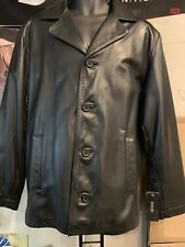 GUESS Men's Black Leather single-breasted Jacket  43469 Size M