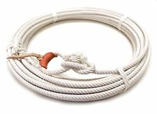 64 Ft White Rodeo Lasso Rope Leather Burner Rodeo Lariat Roping Gear