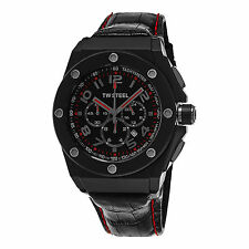 TW Steel Men's CEO Tech Black Dial Leather Strap Quartz Chronograph Watch CE4008