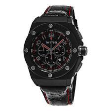 TW Steel Men's CEO Tech Black Dial Leather Strap Quartz Chronograph Watch CE4008